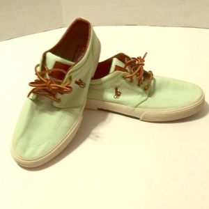 Polo Ralph Lauren mint green loafer boat shoes GUC